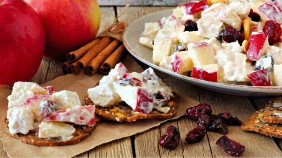Healthy apple yogurt dip with crisps