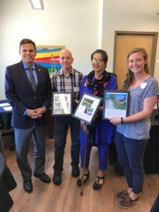 Mayor of Malden, Gary Christenson, with community members and Behavioral Health Specialist Intern, Hannah Mason.