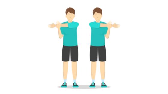 Vector image of a man demonstrating a shoulder stretch