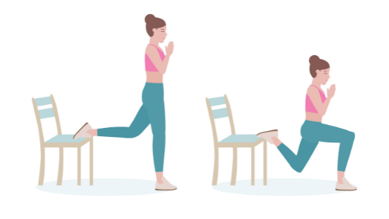 Vector image of a woman demonstrating a lunge in chair stretch