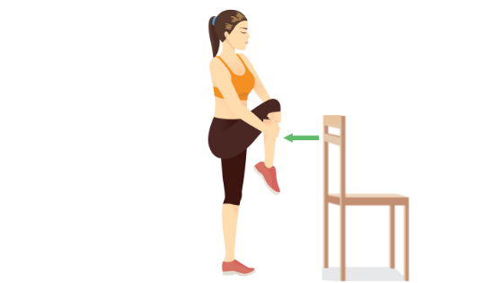Vector image of a woman demonstrating a standing hip flexor stretch