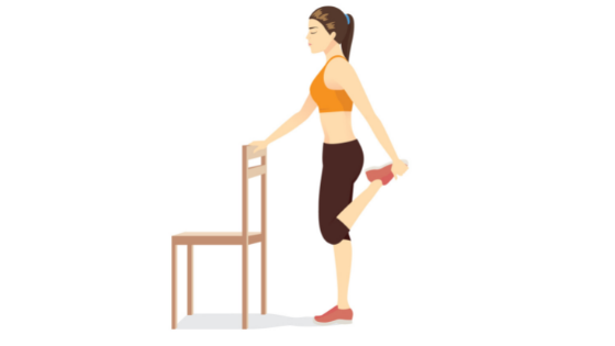 Vector image of woman demonstrating a standing quadriceps stretch