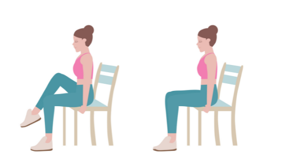 Vector image of a woman demonstrating a seated knee to chest stretch
