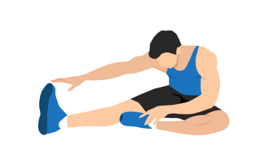Vector image of a man demonstrating a hamstring stretch