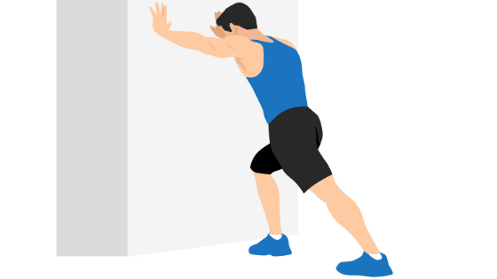 Vector image of a man demonstrating a soleus stretch