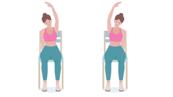 Vector image of a woman demonstrating a seated overhead stretch