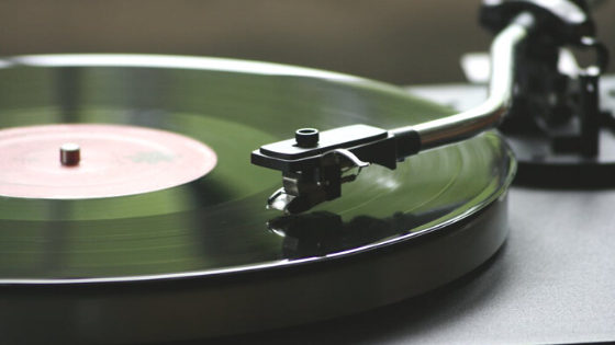 Close-up of a vinyl record player