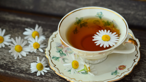 Chamomile tea with fresh flowers in a floral tea cup