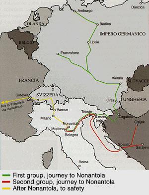 A map of Arnie's Jewish refugee journey through Europe