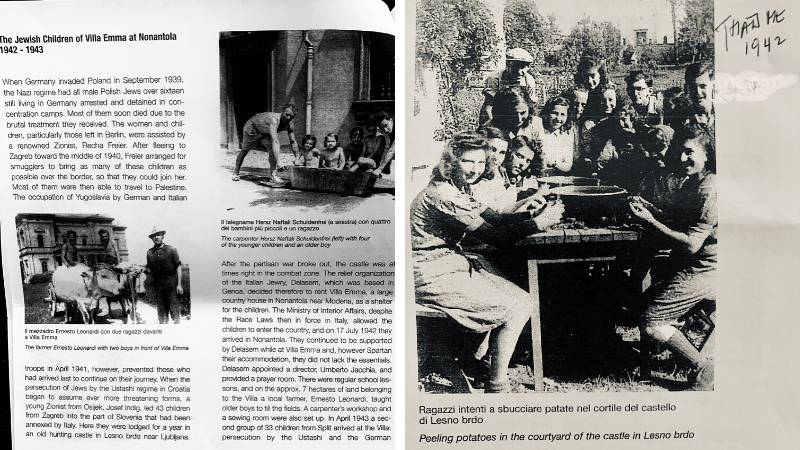 Left: An article about the Jewish children of Villa Emma at Nonantola 1942-1943. Right: Arnie and a group of Jewish refugees peeling potatoes in 1942.
