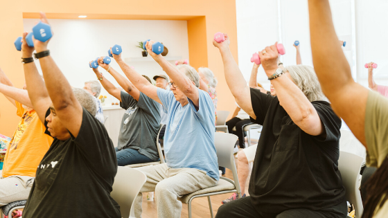 A senior exercise class is seen doing dumbell overhead presses