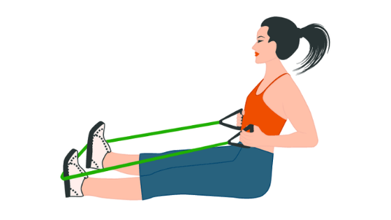 A vector image of a woman using a resistance band to demonstrate a seated row