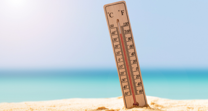 A wooden outdoor thermometer reads 100 degrees F, sticking out of the sand on the beach