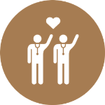 brown two doctor heart icon