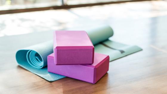 A yoga mat and yoga blocks