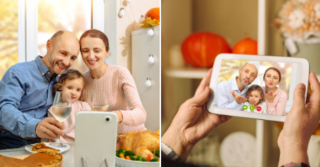Side by side of family having Thanksgiving dinner while on a video call with their grandmother