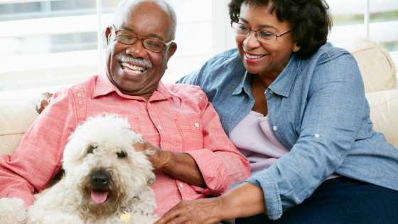 A Black senior couple smile while petting their dog