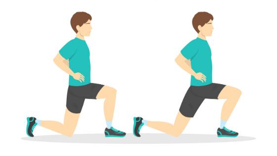 Vector of man demonstrating Standing Hip Flexor exercise