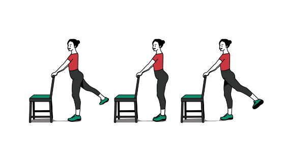 Vector image of woman demonstrating Standing Hip Abductors
