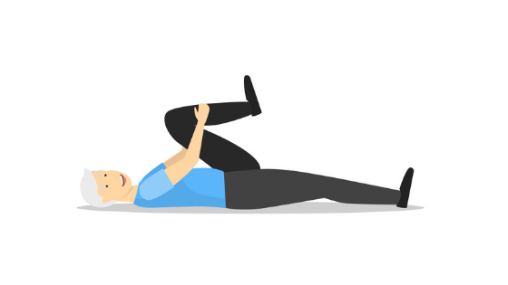 Vector image of senior man demonstrating Knee-To-Chest Pose