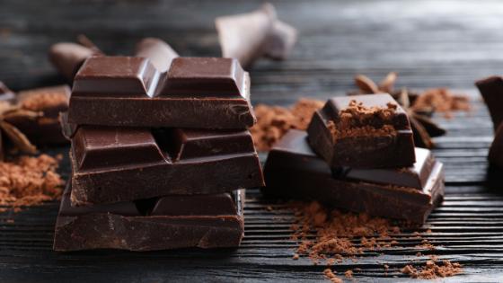 A bar of dark chocolate