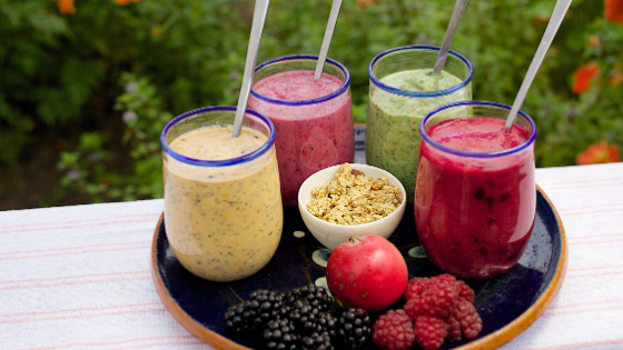 Four fruit and veggie smoothies
