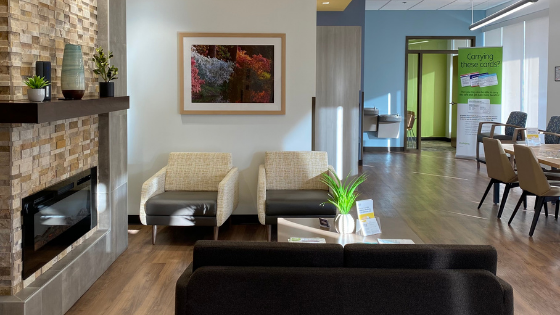 Wide shot of the seating area at an Iora Primary Care practice