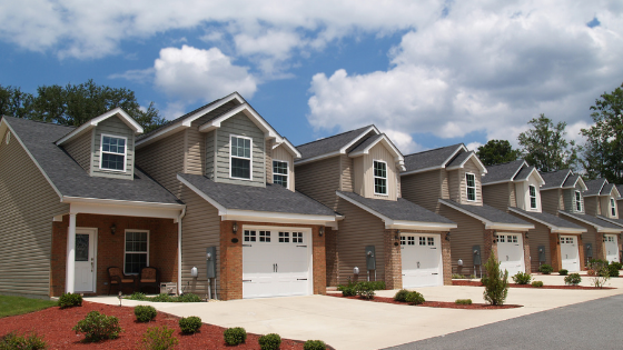 Street view of retirement townhomes